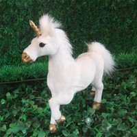 White and Gold Faux Fur Unicorn Figurine