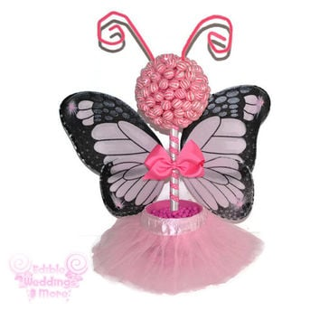 Pink Butterfly Fairy Princess Lollipop Topiary, Pink, Lollipop, Candy, Centerpiece, Baby Shower, Butterfly, Princess, Fairy, Candy Buffet