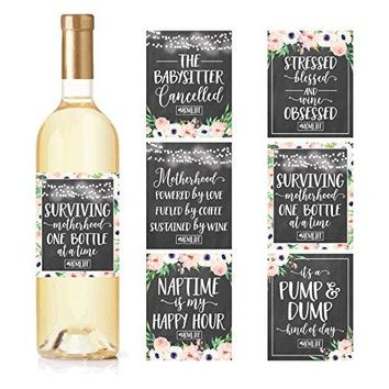 6 Chalk Mommys First Milestone Stickers or Wine Labels Great Baby Shower Gift Ideas For Mom To Be Funny Moms First Moments Having New Baby Girl or Boy 1st Date Night With Dad amp More