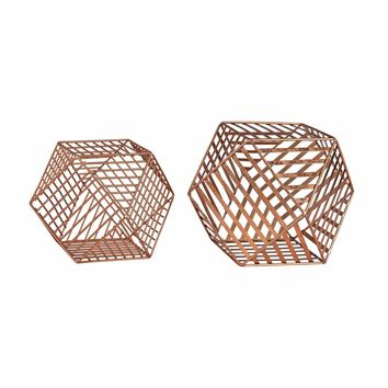 Copper Metallic Wire Dodecahedron