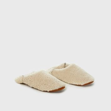 Shearling Moroccan Slipper - Ivory