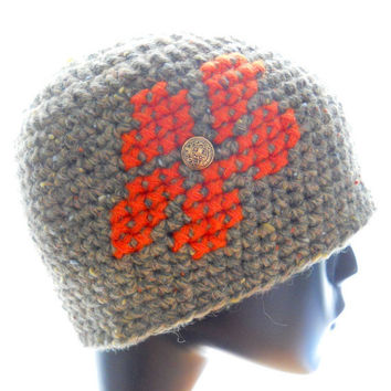 Upcycled beanie hat, wool tweed hat, women's crocheted beanie hat with cross-stitch flower, eco fashion, extra small to medium hat