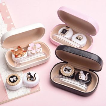Cute Fashion Glasses Case Animal Flower Human Contact Lens Case For Women Men Eyes Contact Lenses Box For Glasses Lens Container