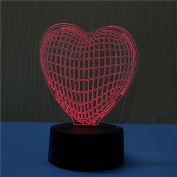 Multicolor 3D Heart Shape Lamp LED Lights Touch USB Remote Control  Night Light Table Lamp