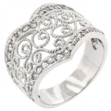 Cubic Zirconia Filigree Hearts Ring (size: 06) (pack of 1 ea)