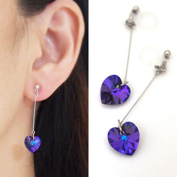 Pierced Look! Dangle Crystal Deep Blue Heliotrope Swarovski Heart Invisible Clip on Earrings,Wedding Clip-On Earrings, Bridal Clip Earrings