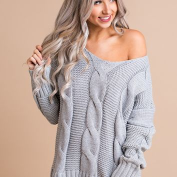 Forever Flawless Cable Knit Sweater (Heather Grey)