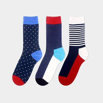 Autumn And Winter Red Cotton Men Socks Casual Weather Tube Socks Gentleman Business Polka Dots Socks Accessories