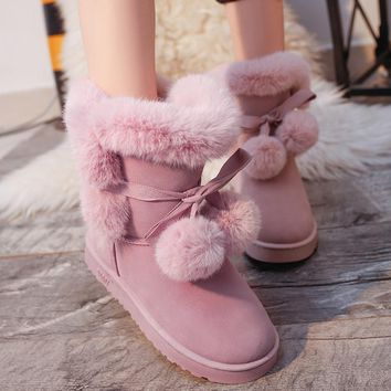 Designer Women Winter Boots Female  Butterfly Knot Snow Ankle Boots Flock Fur Plush Ladies Shoes Bottes