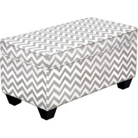 Carson Upholstered Storage Bench Ottoman - Grey and White Chevron | Meijer.com