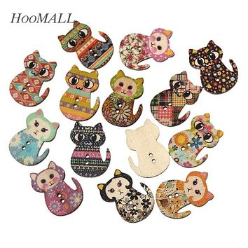 Hoomall Brand 100PCs Natural Wooden Buttons Cute Cat Shape Decorative Sewing Buttons 2 Holes Scrapbooking Crafts DIY 3x2.3cm