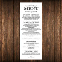 DIY Printable Wedding Menu - Vintage Art Deco Style Digital JPEG PDF File