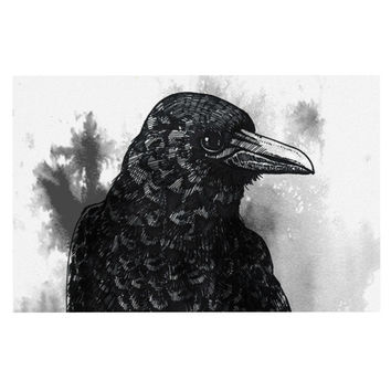 "Sophy Tuttle ""Crow"" Black White Decorative Door Mat"