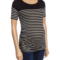 Mom & Co. Black & White Stripe Maternity Scoop Neck Top | zulily