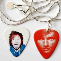 Ed Sheeran Two Sided Guitar Pick Necklace + Pick