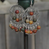 Picasso Jasper Stone Chandelier Earrings ~ Earth Colour Stones ~ Boho Chandelier Earrings ~ Bohemian Jewellery ~ Semi Precious Stones