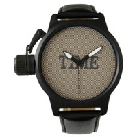 "Gold and Black Pattern Design ""Time"" Watch"