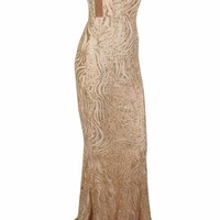 Honey Couture DONNA Gold Glitter Strapless Formal Gown Dress