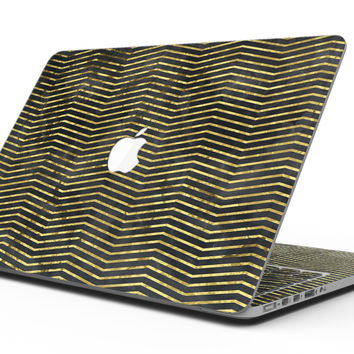 Black and Gold Watercolor Chevron - MacBook Pro with Retina Display Full-Coverage Skin Kit