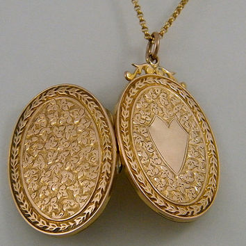 c1890 Marriage 9K Gold Antique Locket Necklace Victorian Large Oval Marriage Wedding Anniversary Jewelry Gift