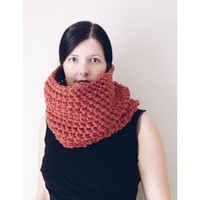 Fall Scarf, Rustic Cowl, Rust Snood, chunky cowl, knit scarf, Neck warmer, Fall, winter scarf, natural scarf, handmade by VeraJayne