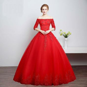 Red Boat Neck Embroidery Sequined Flowers Wedding Dress Bridal Gowns Dresses Lace robe