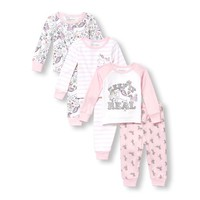 Baby And Toddler Girls Long Sleeve Glitter 'Keep It Real' Tops And Printed Pants 6-Piece Snug-Fit PJ Set
