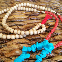 Long Turquoise Beaded Necklace, Women's Fashion Gift, Red White and Blue Beads, Wood Bead Tassel Jewelry