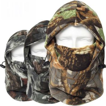 Winter Thermal Fleece Windproof Balaclava Sun Camo Camouflage Warm Neck Cap Hats Paintball Snowboard Combat Full Face Mask