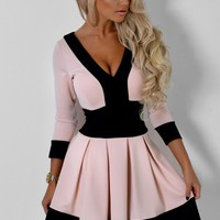 Valeria Nude and Black Plunge Skater Dress | Pink Boutique