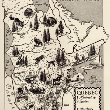 Quebec Map Print, Vintage Map Illustration, 1960s Canada Map Art, French Canadian Map, Map Wall Art Print, Travel Wall Decor, Map of Canada