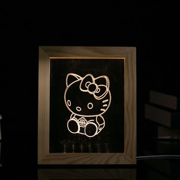 Hello Kitty 3D Visual Creative Wood Acrylic LED Table Lamp Photo Frame Living room Bedroom Lamp