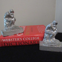30's 40's Bookends / The Thinker Bookends / Vintage Home Decor / Mid Century Home Office Organization