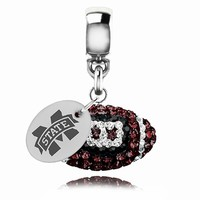 Mississippi State Football Dangle Fits All Pandora Style Charm Bracelets. Collegiate Jewelry