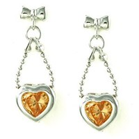 Bow Knot and Bead Chain with Bezel Heart Yellow CZ Drop Stud Earrings