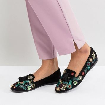 New Look Embroidered Tab Tassel Slipper at asos.com
