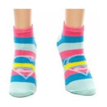 Superman Striped Ankle Socks