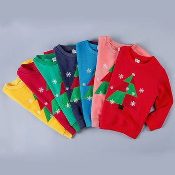Children Christmas Sweater Cotton Cashmere Sweater Unisex Baby Winter Autumn Christmas Tree Clothes Funny Girls Holiday T-shirt