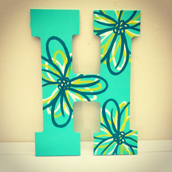 Large Flowered Hand Painted Wooden Letter 'H'