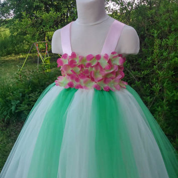 Ivory and green tutu – flower girl tutu – hydrangea tutu dress – wedding tutu dress – birthday tutu dress – party tutu dress – pageant dress