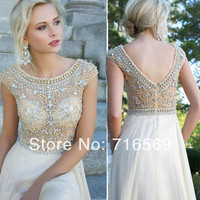 Free shipping! Modest White Chiffon Cap Sleeves Prom Long Dresses With Crystals Beaded 2014 New Women Evening dress Party Gowns-in Prom Dresses from Apparel & Accessories on Aliexpress.com | Alibaba Group