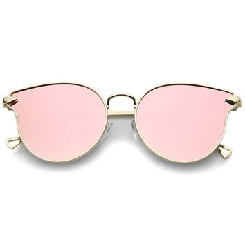 Women's Metal Frame Arrow Temples Colored Mirror Flat Lens Cat Eye Sunglasses 58mm