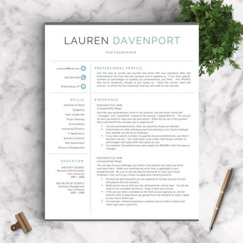 Modern Resume Template for Word and Pages + Cover Letter + Social Icons | Modern CV Template | US Letter and A4 Sizes | Instant Download