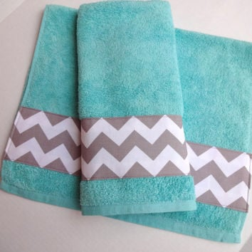 grey chevron and aqua towel set set of 2 hand towel aqua bathroom - Decorative Hand Towels