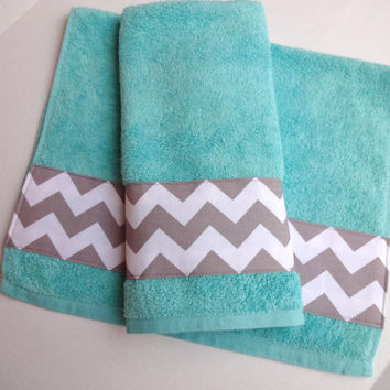 Grey chevron and aqua towel set set of from augustave on etsy for Turquoise and grey bathroom accessories
