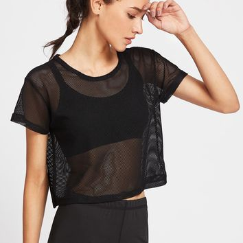 Black Fishnet Crop Top