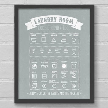 Laundry Room Decor Art, Laundry Guide Print, Laundry Symbols Care Instruction Chart, Laundry Wall Poster Organizer, Housewarming Mother Gift