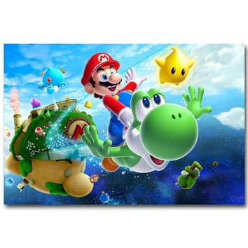 Super Mario party nes switch  Galaxy Art Silk Fabric Poster Print 13x20 24x36 inch Vedio Game Pictures for Living Room Wall Decoration Yoshi 011 AT_80_8