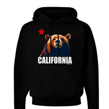 California Republic Design - Grizzly Bear and Star Dark Hoodie Sweatshirt by TooLoud