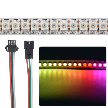 Mokungit 3.2Ft 0.5 1 2 Meters WS2812B Chip 144 LED Strip 5050 RGB Pixel Arduino Full Color Addressabble Matrix Light Tape 5V